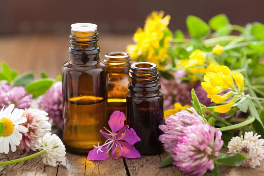 essential oils and medical flowers herbs