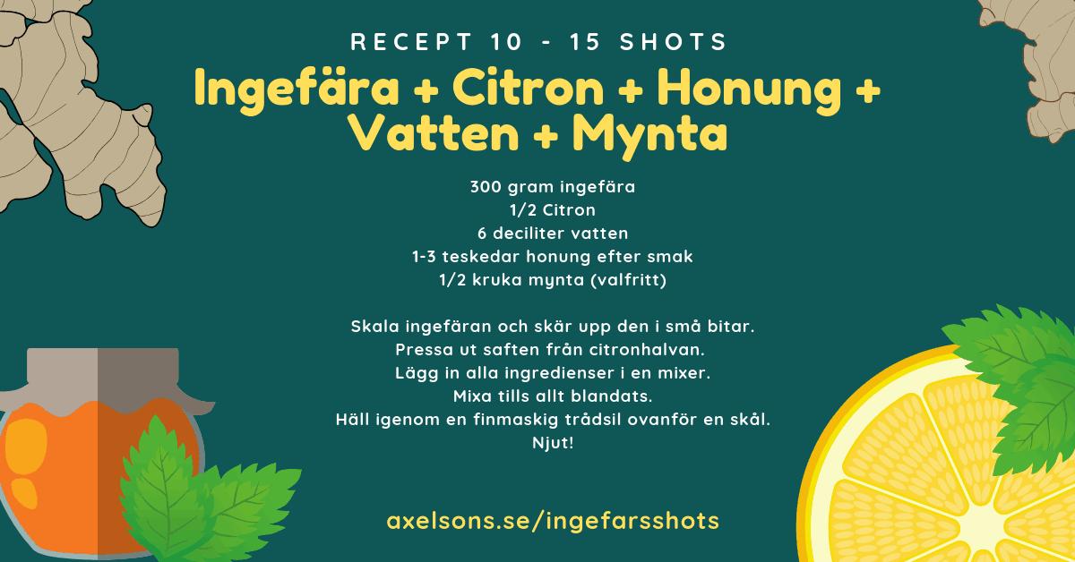 Ingefära shot recept citron, honung, vatten och mynta Axelsons.se