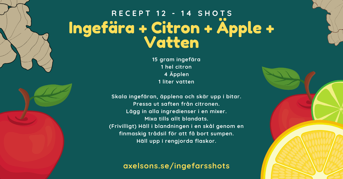 Ingefära shot recept citron, äpple och vatten Axelsons.se