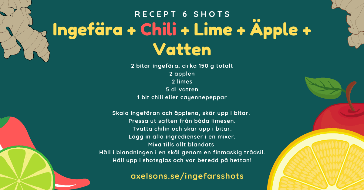Ingefära shots chili, lime, äpple