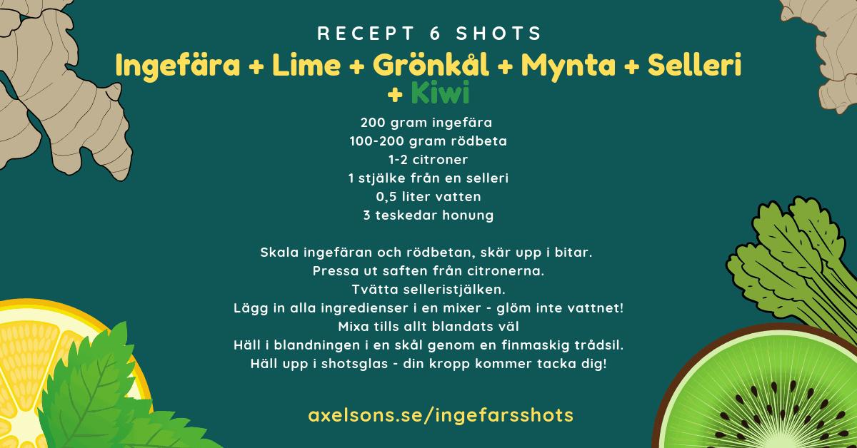 Ingefära shot recept, ingefärsshot raw, ingefära, kiwi, mynta